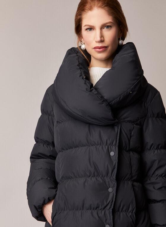 Asymmetrical Down Blend Coat, Black