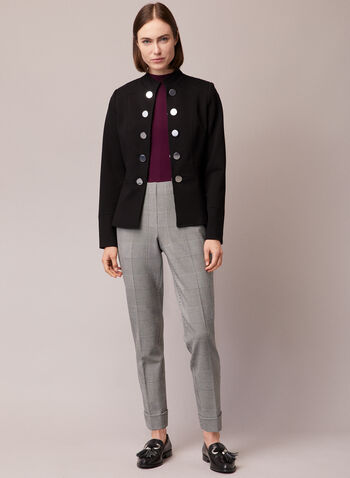 Military Style Jacket, Black,  jacket, military, buttons, ponte di roma, fall winter 2020