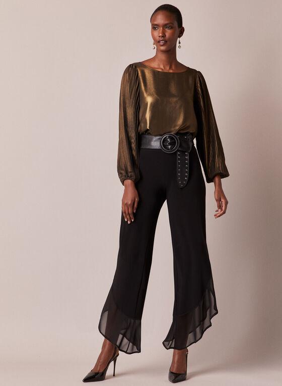 Metallic Pleated Sleeve Top, Gold