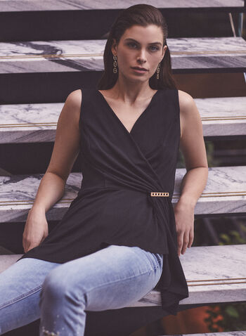Sleeveless Brooch Detail Top, Black,  top, sleeveless, drape, brooch, jersey, asymmetric, fall winter 2020