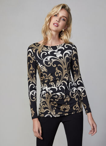 Baroque Print Top, Black, hi-res,  Canada, long sleeves, baroque, pleating, fall 2019, winter 2019
