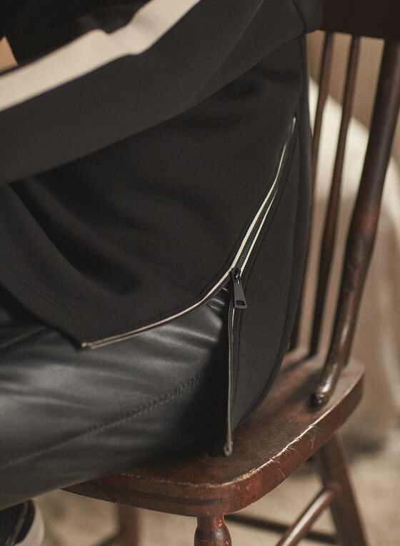 Haut contrastant à détails zippés, Noir