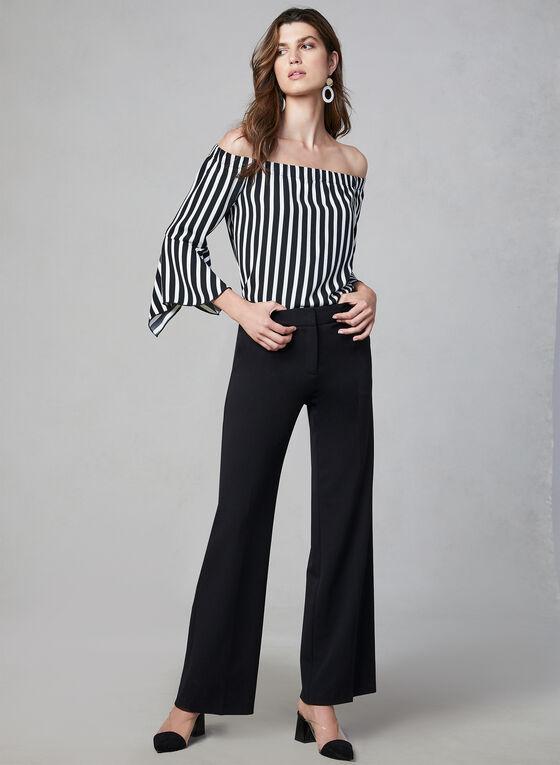 Striped Off-the-Shoulder Blouse, Black