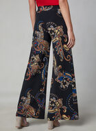 Paisley Print Wide Leg Pants, Black