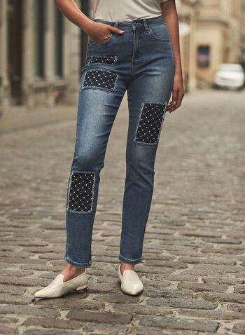 Joseph Ribkoff - Embellished Patch Jeans, Blue,  fall winter 2021, Joseph Ribkoff, Frank Lyman, pants, denim, stretch denim, jeans, mid rise, slim leg, 5 pocket, belt loops, pearl, embellished, washed, patch, quilt