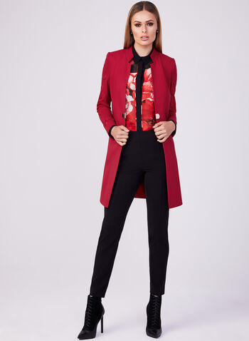 Embroidered Redingote Jacket, Red, hi-res
