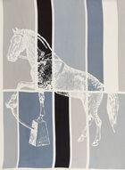 Foulard oblong cheval et blocs de couleurs, Bleu, hi-res