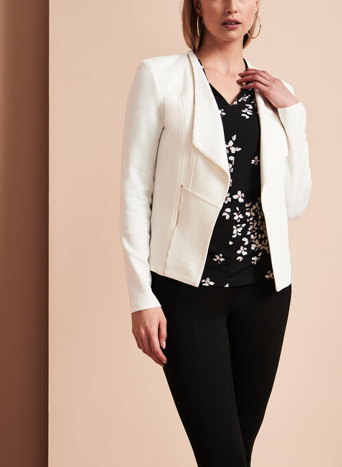 Vex - Blazer en tricot drapé et détails zip, Blanc cassé, hi-res
