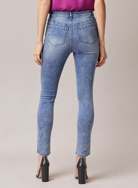 Rivet Detail Slim Leg Jeans, Blue
