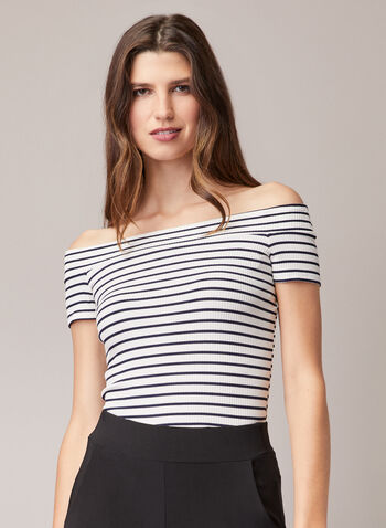 Stripe Print Bardot Neckline Top, White,  top, striped, bardot, cold shoulder, off the shoulder, spring summer 2020