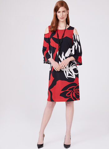 Frank Lyman - Cold Shoulder Jersey Dress, Red, hi-res