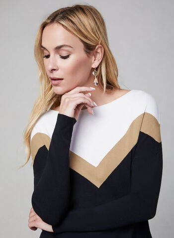 Colour Block Knit Sweater, Black, hi-res,  fall 2019, winter 2019, knit fabric, long sleeves, sweater, boat neck, colour block