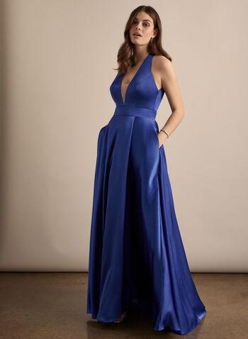 Robe satinée à décolleté en V, Bleu,  robe de bal, satin, col v, maille filet, sans manches, poches, printemps été 2020