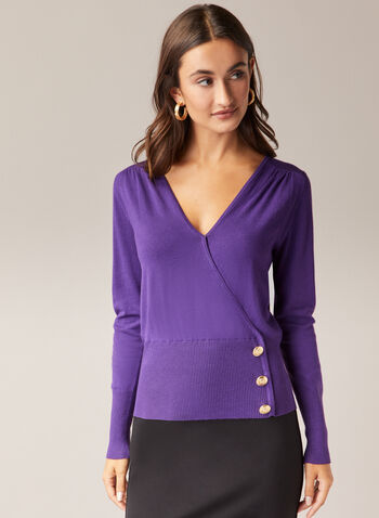 Button Detail V-Neck Sweater, Purple,  sweater, v-neck, crossover, long sleeves, button details, fall winter 2020