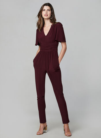 V-Neck Jersey Jumpsuit, Red, hi-res,  jumpsuit, short sleeves, flutter sleeves, ruched, V-neck, jersey, fall 2019, winter 2019
