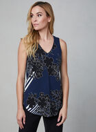 Floral Print Sleeveless Blouse, Blue, hi-res