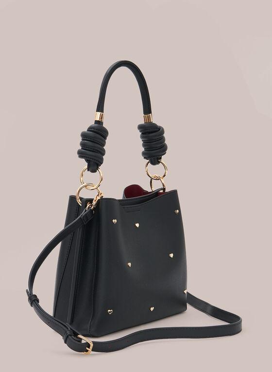 Metallic Heart Detail Bag, Black