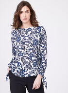 Floral Chiffon Popover Blouse, White, hi-res