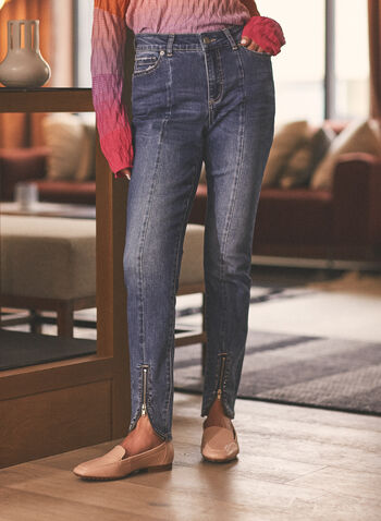 Zipper Detail Slim Leg Jeans, Blue,  jeans, denim, zipper, worn, pockets, slim leg, spring summer 2021
