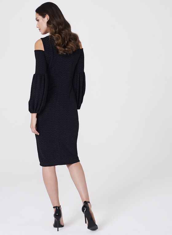 Maggy London - Metallic Cold Shoulder Dress, Black, hi-res