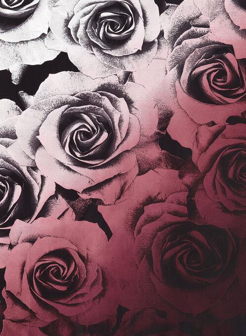 Foulard carré de soie imprimé roses, Pourpre, hi-res