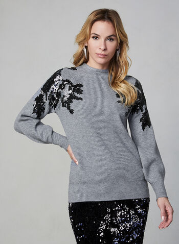 Sequin Detail Sweater, Grey,  fall winter 2019, sweater, knit, long sleeves, sequin