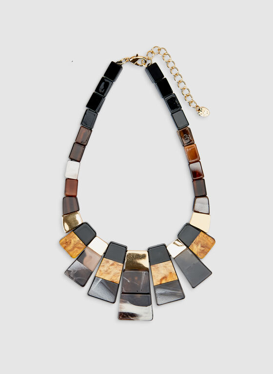 Rectangle Pendant Necklace, Off White
