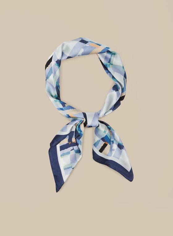 Plaid Print Scarf , Blue