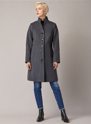 Mid Length Wool Blend Coat, Grey,  fall winter 2020, coat, winter, jacket, stand collar, long sleeve, button, pocket, lined, warm, fit and flare cute, wool blend, mid length