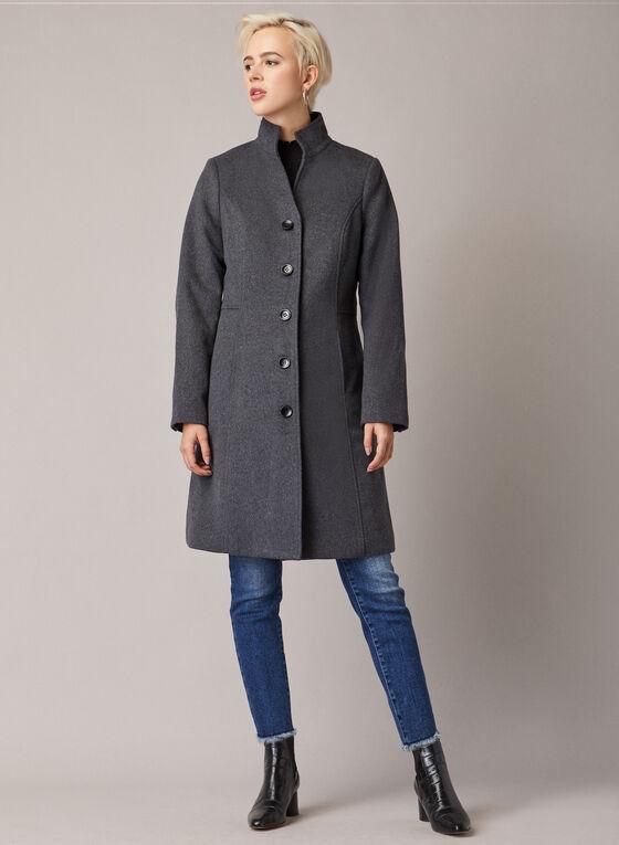 Mid Length Wool Blend Coat, Grey