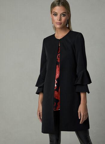Long Ruffle Sleeve Jacket, Black, hi-res