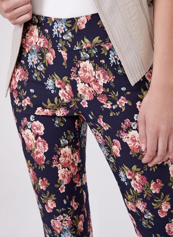 Pantalon pull-on fleuri à longueur cheville, Bleu, hi-res