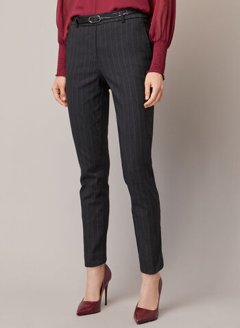 Chapter One - Stripe Print Belted Pants, Black,  fall winter 2020, pants, slim leg, pockets, bengaline, chapter one, stripe print, pull-on