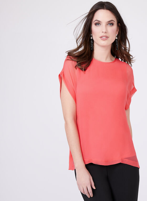 Extended Sleeve Silk Top , Pink, hi-res