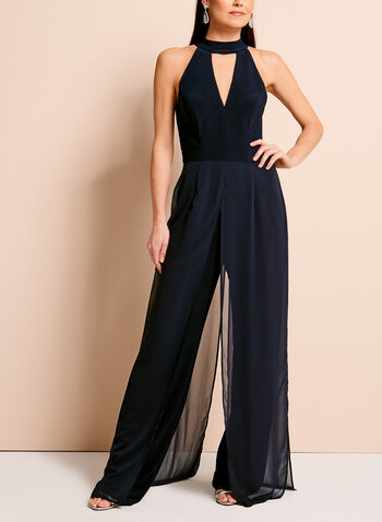 Choker Top Chiffon Overlay Jumpsuit, Blue, hi-res