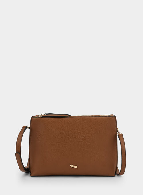 Double Zipper Crossbody Bag, Brown