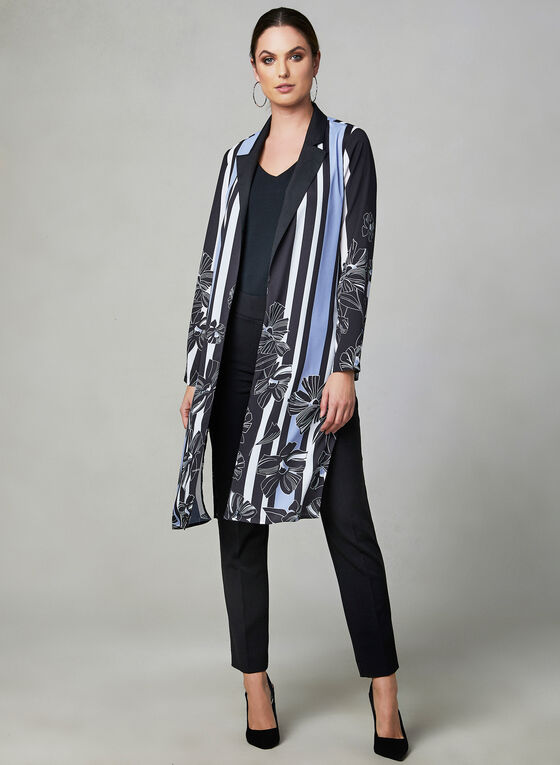 Printed Open Front Duster, Black, hi-res