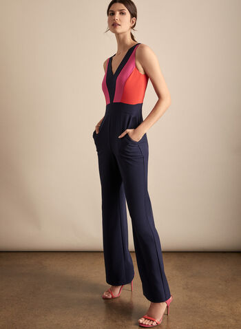 Vince Camuto - Sleeveless V-Neck Jumpsuit, Blue,  Vince Camuto, jumpsuit, colour-block, long jumpsuit, wide leg, v-neck, spring 2020, summer 2020