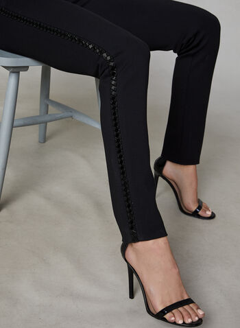 Beaded Trim Slim Leg Pants, Black, hi-res,  dress pants