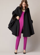 Mallia - Cape en laine mélangée et fourrure, Noir
