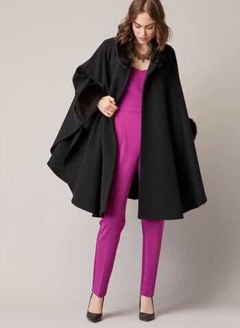 Mallia - Cape en laine mélangée et fourrure, Noir,  poncho, cape, automne hiver 2020, fourrure, fourrure de renard, Canada, laine, cachemire, manteau