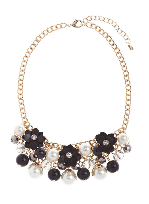 Pearl & Floral Cluster Necklace, Black, hi-res