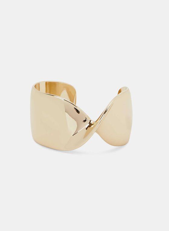 Metal Cuff Bracelet, Gold, hi-res