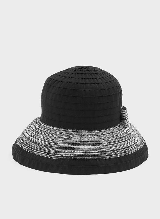 Chapeau capeline à petits bords et détail nœud, Noir, hi-res