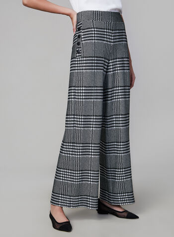 Joseph Ribkoff - Plaid Print Wide Leg Pants, Black, hi-res,  made in canada, fall winter 2019, plaid print, pull on, wide leg