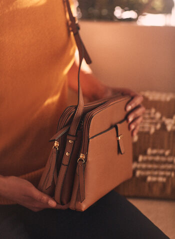 Triple Zip Crossbody Bag, Beige,  handbag, crossbody, fau leather, zipper, metallic, slip pocket, spring summer 2021