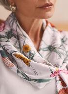 Foulard carré à motif fleurs et papillons, Multi
