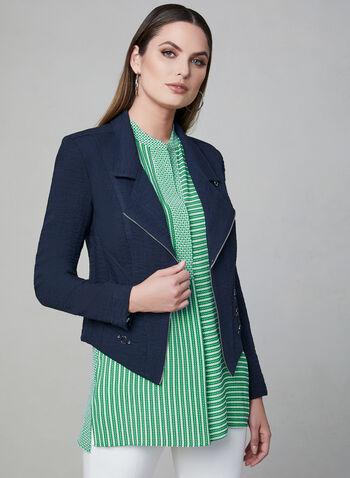 Vex - Blazer ouvert à détails zippés et œillets, Bleu, hi-res,  veste, ouverte, manches longues, zip, épaulettes, œillets, printemps 2019