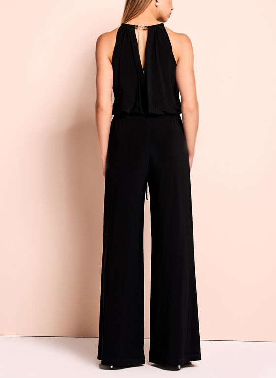 Halter Neck Jersey Jumpsuit, Black, hi-res