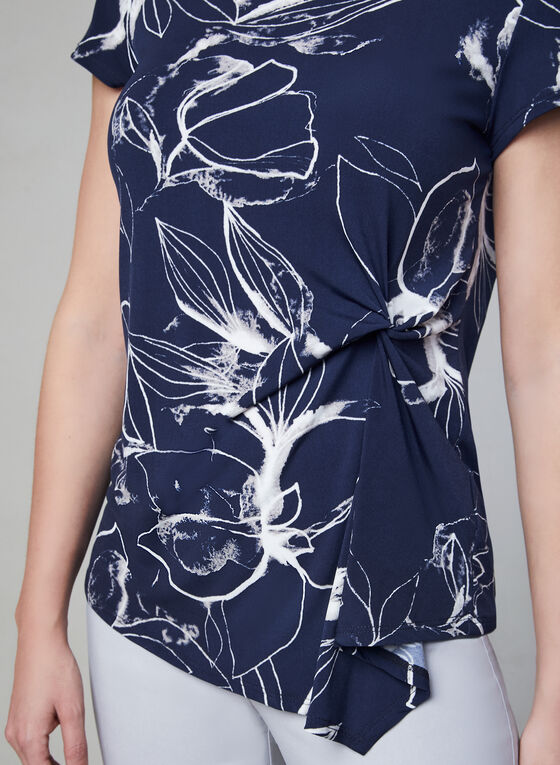 Haut motif floral à manches courtes, Bleu, hi-res